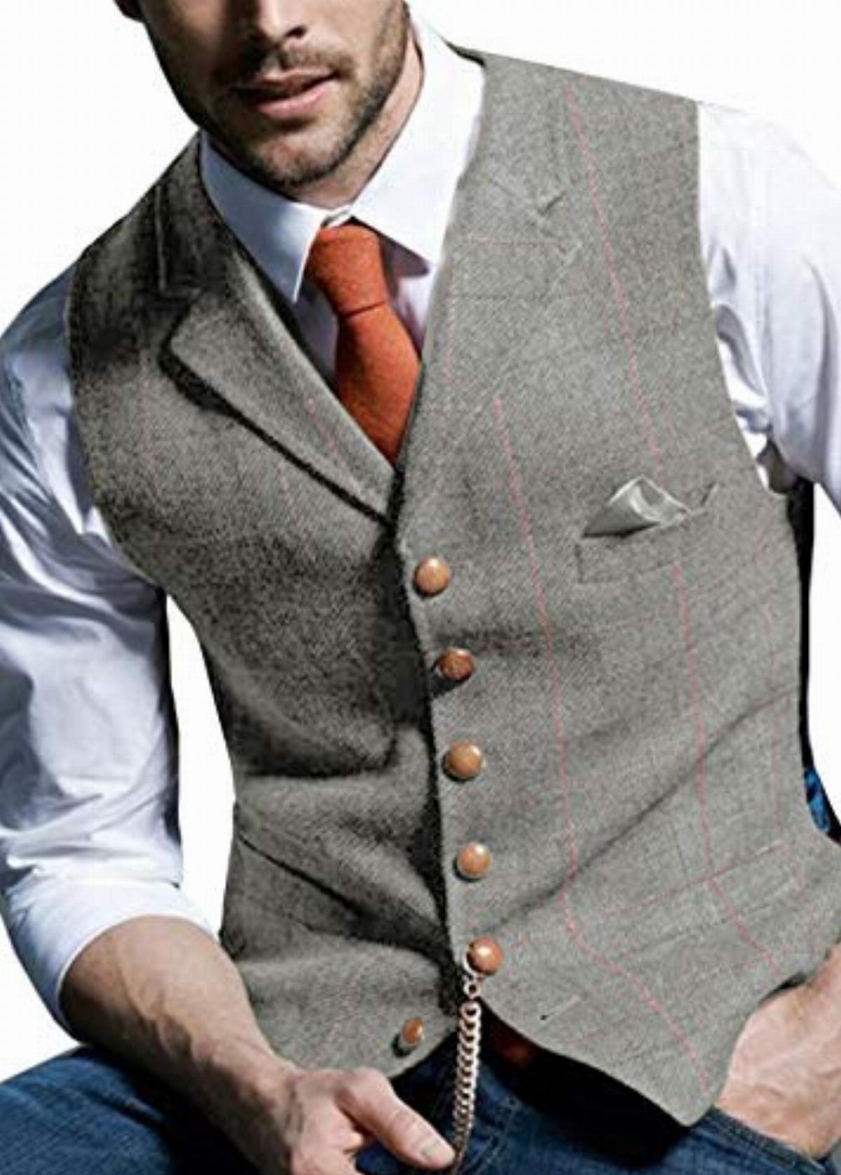 JinXuanYa Tweed Vest Mens Wool Waistcoat Herringbone Formal Slim Fit Notch Lapel for Business Wedding Party Groomsmen