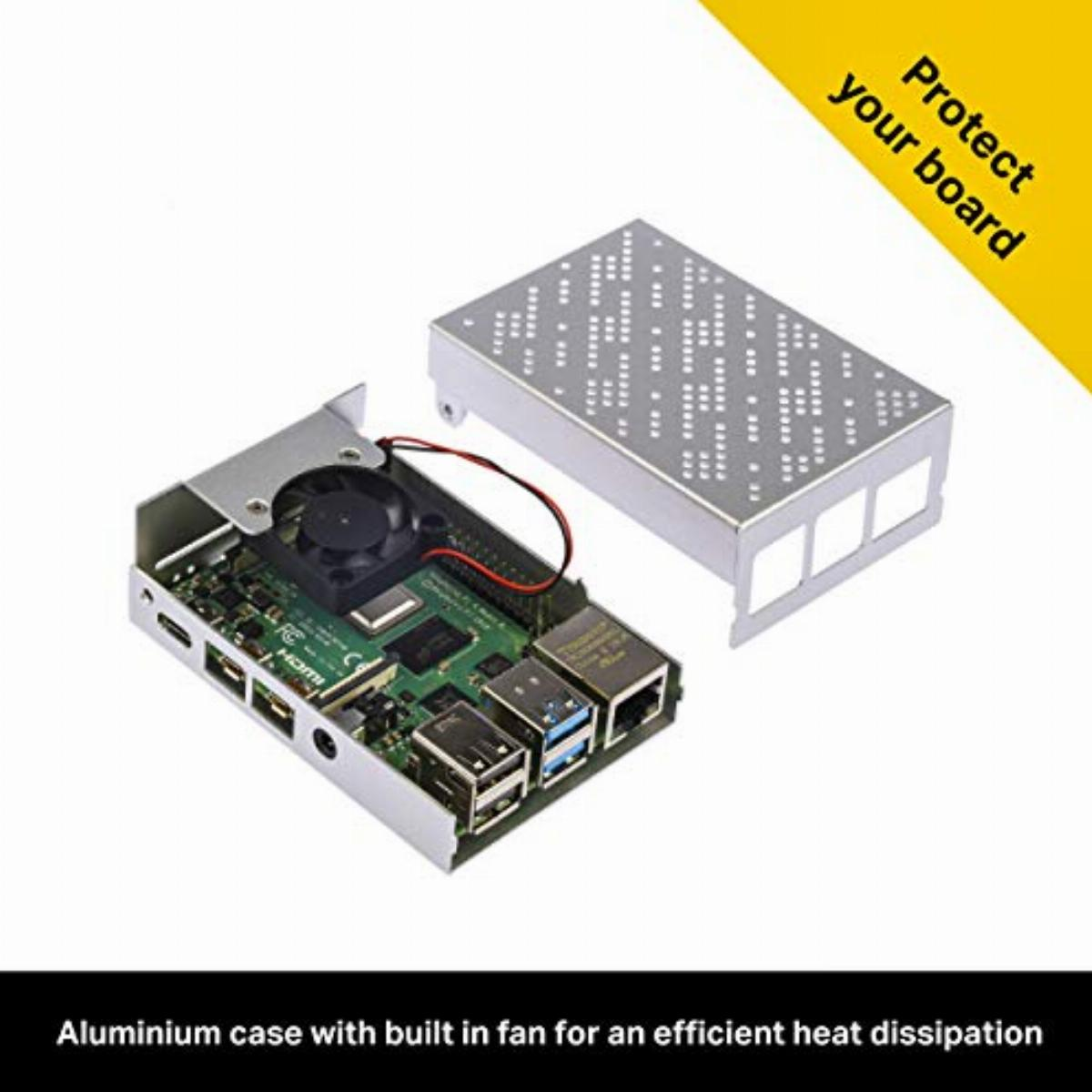 2 x HDMI Cables Aluminium Case With Fan 32GB Micro SD Card with Noobs Power Supply OKdo Raspberry Pi 4 8GB Starter Kit with Raspberry Pi 4 Model B 8GB USB C Cable 3 x Heat Sinks