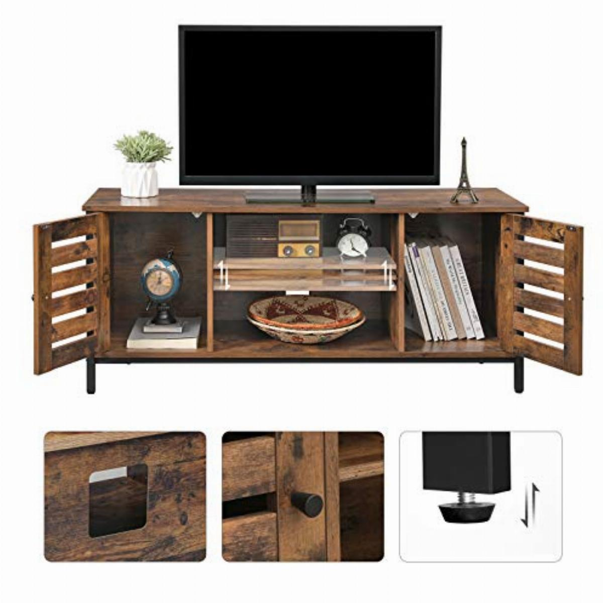 Vasagle Tv Stand Tv Console Unit With Shelves Cabinet With Storage Louvred Doors For Living Room Entertainment Room Rustic Brown And Black Ltv43bx